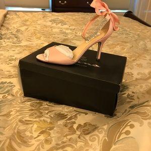 Nina blush & rhinestone sandals, never worn.